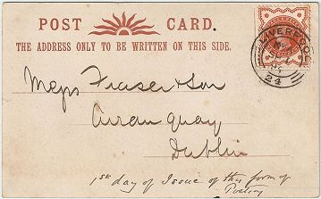 ½d Vermilion Used On The First Day For Which Postcard Rate Could Be Paid With Adhesive Stamps